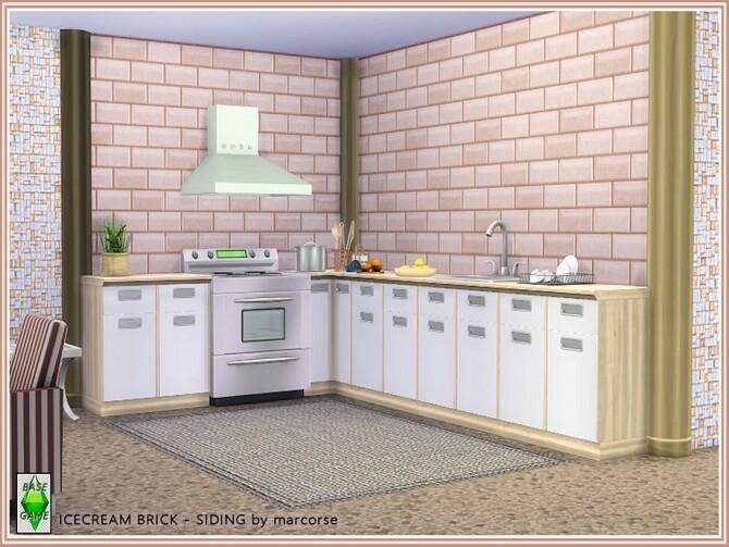 Sims 4 Icecream Brick Siding by marcorse at TSR