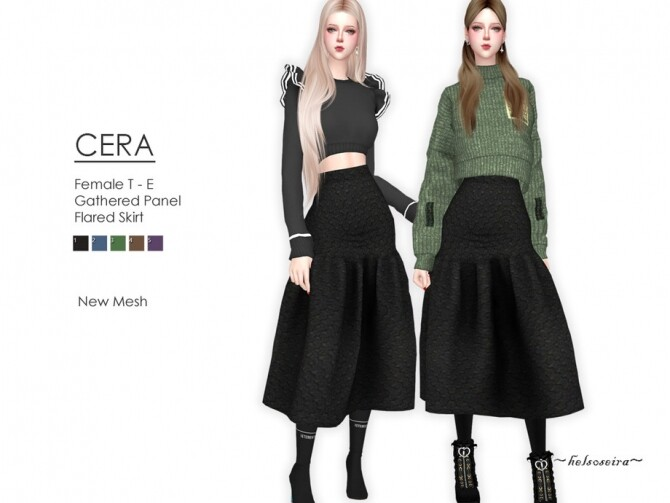 CERA Flared Skirt by Helsoseira at TSR image 7418 670x503 Sims 4 Updates