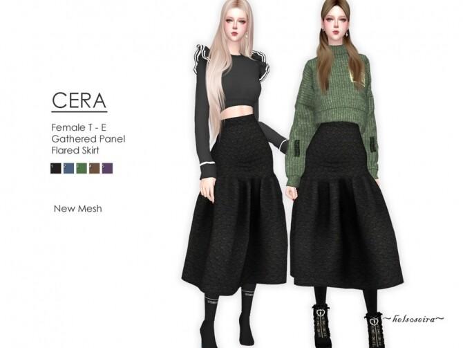 Sims 4 CERA Flared Skirt by Helsoseira at TSR