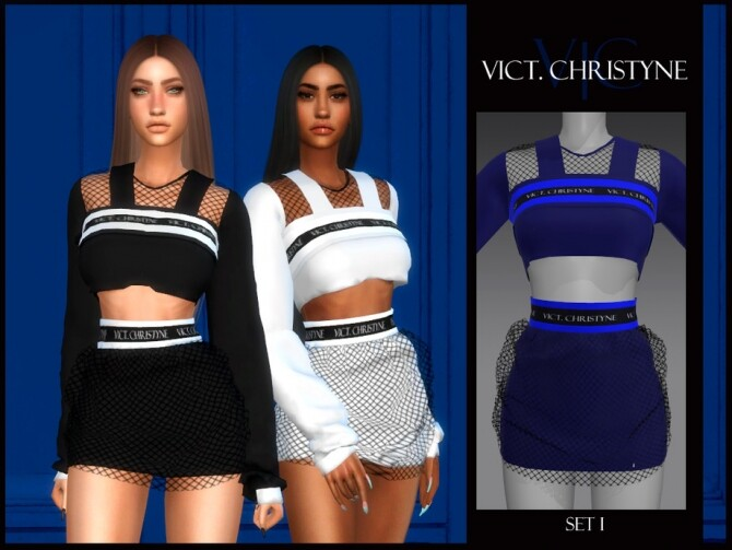 Sims 4 SET I VICT. CHRISTYNE top and skirt by Viy Sims at TSR