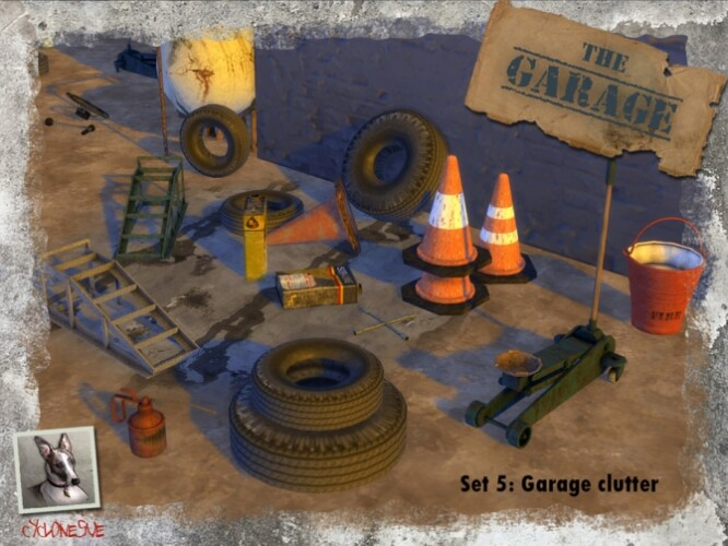 The Garage Set 5 Clutter by Cyclonesue