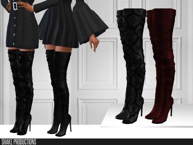 Sims 4 450 Leather Boots by ShakeProductions at TSR