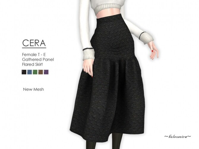 CERA Flared Skirt by Helsoseira at TSR image 7518 670x503 Sims 4 Updates