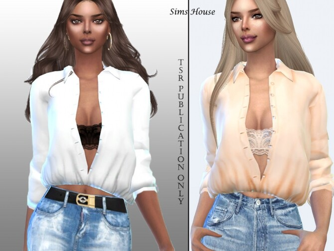 Womens long sleeve unbuttoned shirt by Sims House at TSR image 764 670x503 Sims 4 Updates