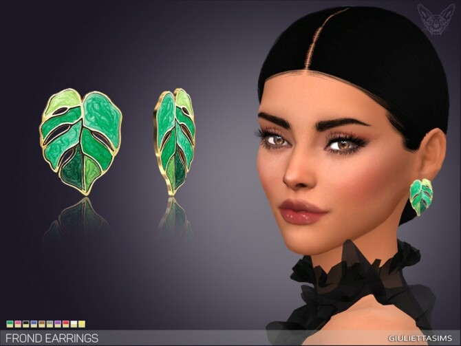 Sims 4 Frond Earrings by feyona at TSR