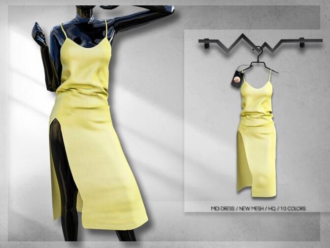 Sims 4 Midi Dress BD255 by busra tr at TSR