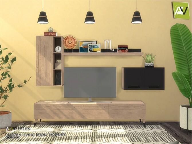 Sims 4 Celestia Living Room TV Units by ArtVitalex at TSR
