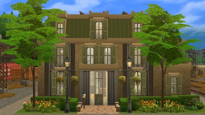 Sims 4 Evergreen Old train station by xmathyx at Mod The Sims