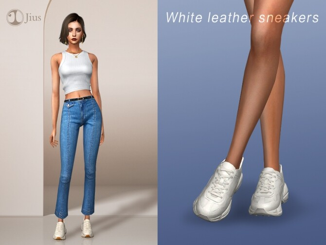 White leather sneakers by Jius at TSR image 829 670x503 Sims 4 Updates