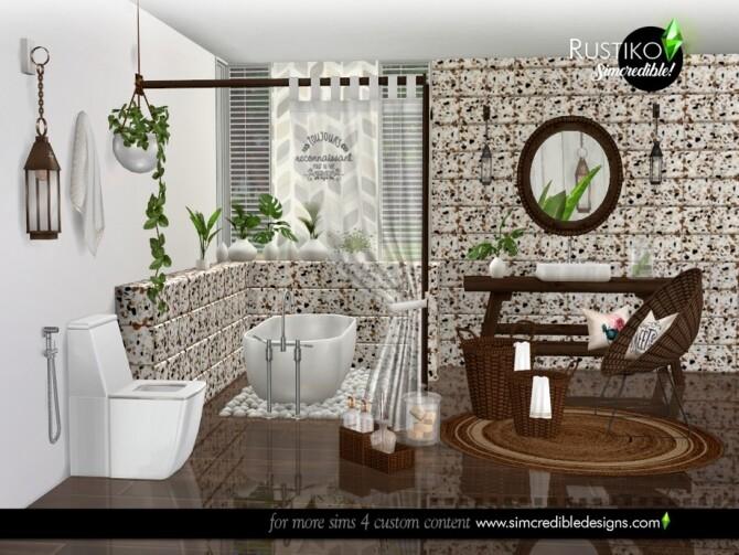 Sims 4 Rustiko bathroom by SIMcredible at TSR