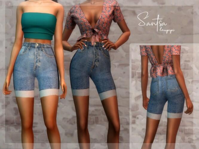 Santsa denim high waisted shorts by laupipi