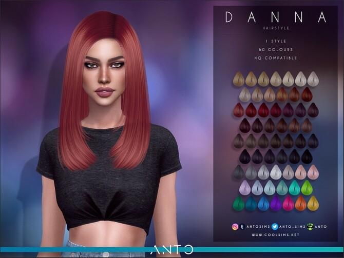 Sims 4 Danna long bob hair by Anto at TSR