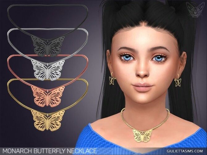 Sims 4 Monarch Butterfly Necklace For Kids at Giulietta