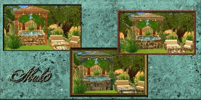 Sims 4 Disandra Set: Tub, Loveseat, Chair & Table at Abuk0 Sims4