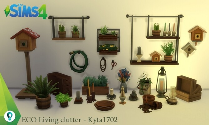 Sims 4 ECO Living Decoration clutter at Simmetje Sims