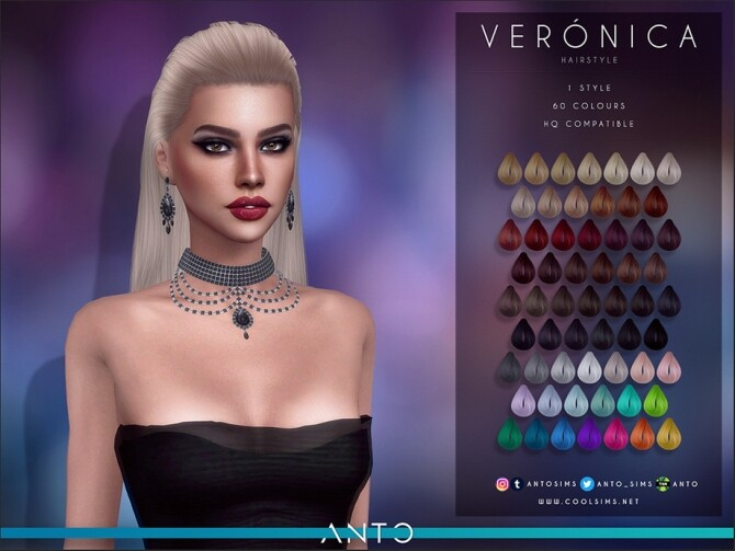 Sims 4 Veronica long hair pulled back by Anto at TSR