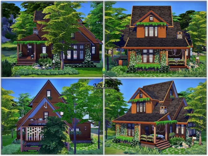 Sims 4 Wooden Corner No CC House by nobody1392 at TSR