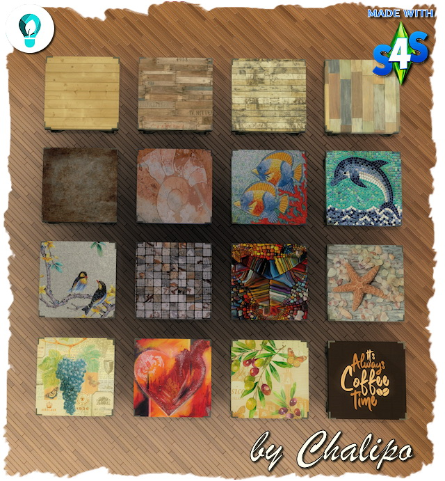 Sims 4 ECO Living coffee table recolors by Chalipo at All 4 Sims