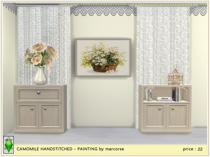 Sims 4 Camomile Handstitched Painting by marcorse at TSR