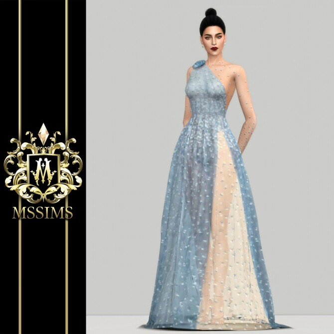 Sims 4 SHINING TULLE GOWN (P) at MSSIMS