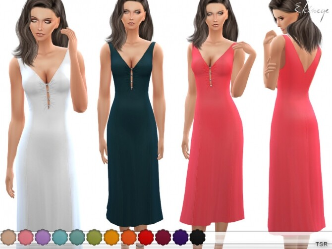 Sims 4 Bead Embellished Midi Dress by ekinege at TSR