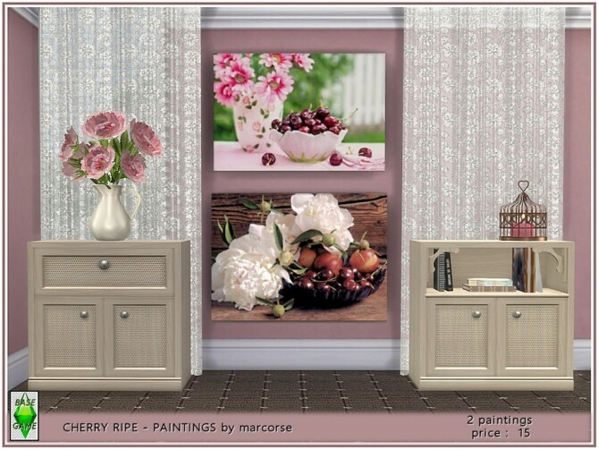 Sims 4 Cherry Ripe Paintings by marcorse at TSR