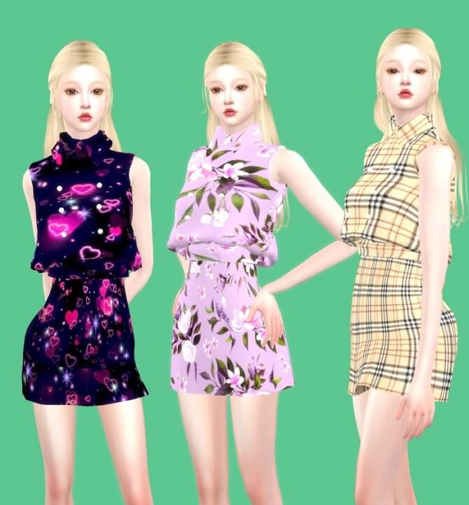 Collar mini dress at Simjigi image Collar mini dress by simjigi 670x722 Sims 4 Updates