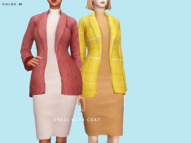 Sims 4 Dress with Coat by ChloeMMM at TSR