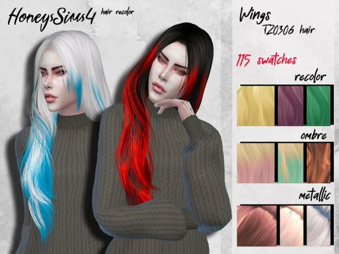 Sims 4 Female hair recolor Wings TZ0306 by HoneysSims4 at TSR