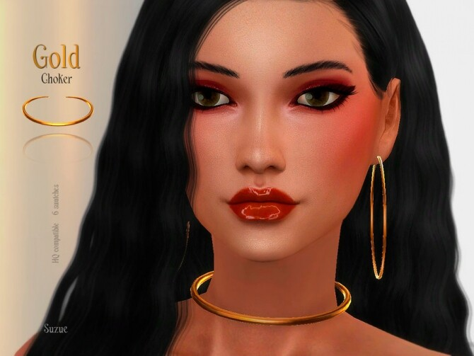 Gold Choker by Suzue at TSR image Gold Choker by Suzue 670x503 Sims 4 Updates