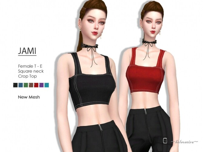 Sims 4 JAMI Square Neck Crop Top by Helsoseira at TSR