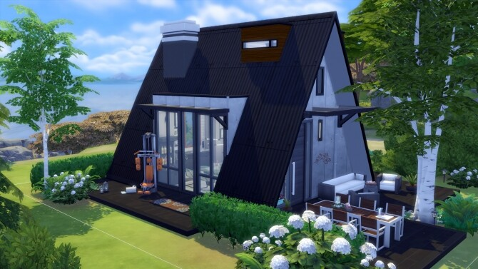 Sims 4 Modern A Frame House No CC by Chaosking at Mod The Sims
