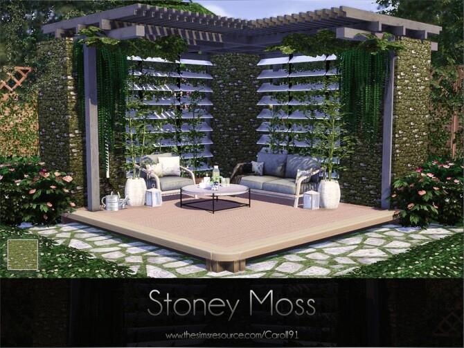 Sims 4 Stoney Moss Wall by Caroll91 at TSR