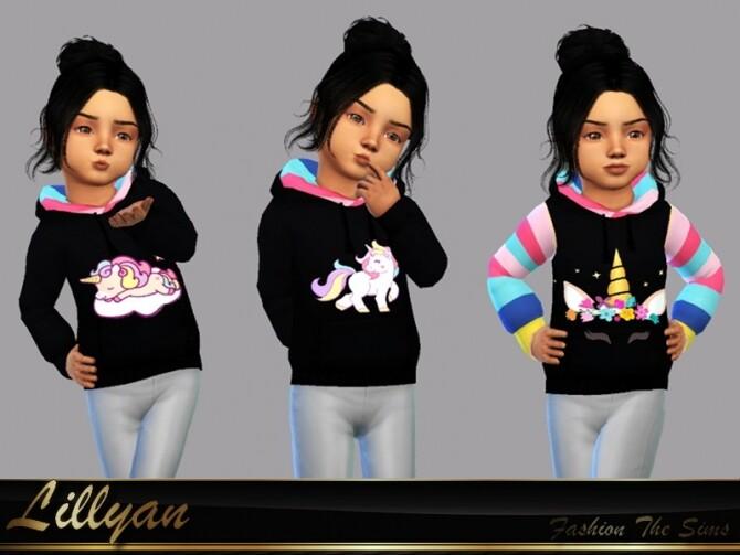 Sims 4 Sweatshirt unicorn toddlers by LYLLYAN at TSR