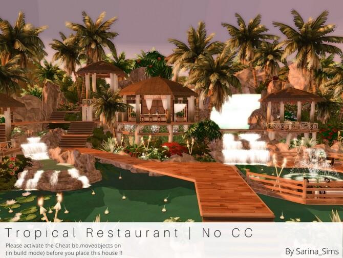 Sims 4 Tropical Restaurant No CC by Sarina Sims at TSR