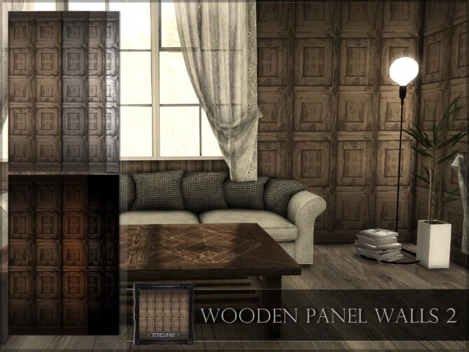 Sims 4 Wooden Panel Walls 02 by RemusSirion at TSR
