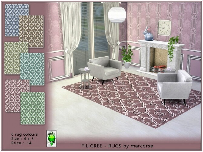 Sims 4 Filigree rugs by marcorse at TSR