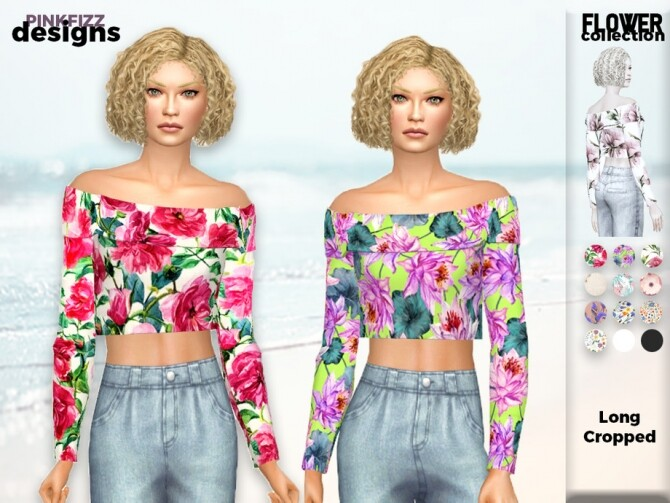 Sims 4 Flower Long Crop Top PF143 by Pinkfizzzzz at TSR