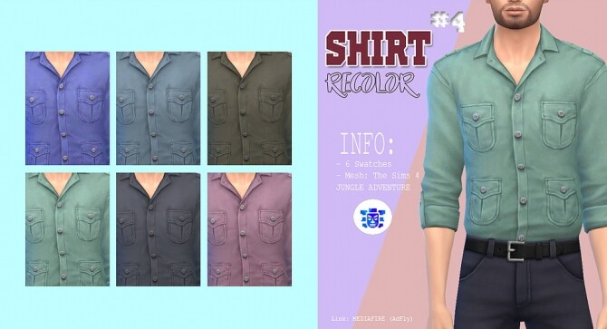 Sims 4 Male shirt recolor at Kass