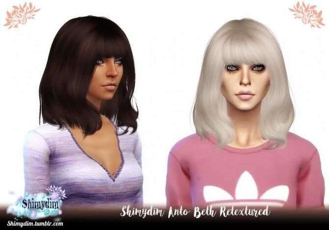 Sims 4 Anto Beth Hair Retexture Naturals + Unnaturals at Shimydim Sims