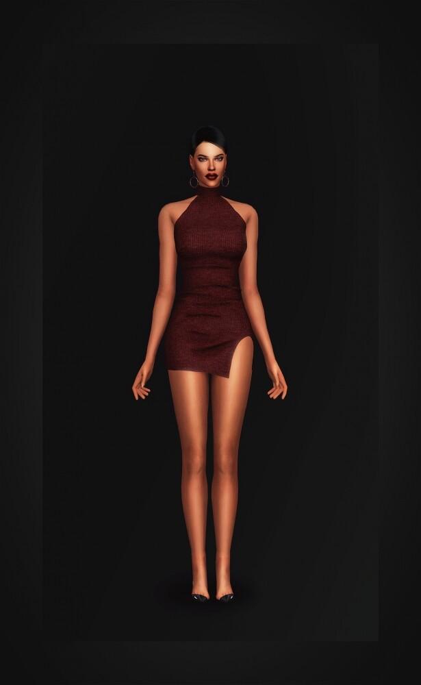 Sims 4 Ribbed Turtleneck Dress at Gorilla