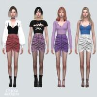Shirring Mini Skirt Pattern V