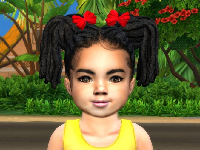 Sims 4 Dread Buns Pigtails Toddler by drteekaycee at TSR