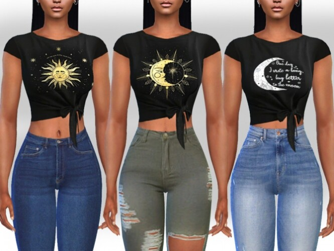 Female Front Tied Moon Tops by Saliwa