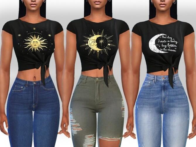 Sims 4 Female Front Tied Moon Tops by Saliwa at TSR