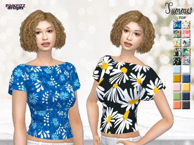 Sims 4 Summer Top PF128 by Pinkfizzzzz at TSR