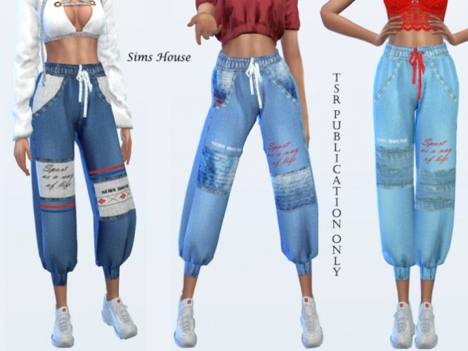 Women Denim Cargo Joggers by Sims House