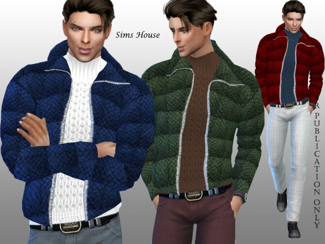 Sims 4 Mens open jacket with sweater by Sims House at TSR