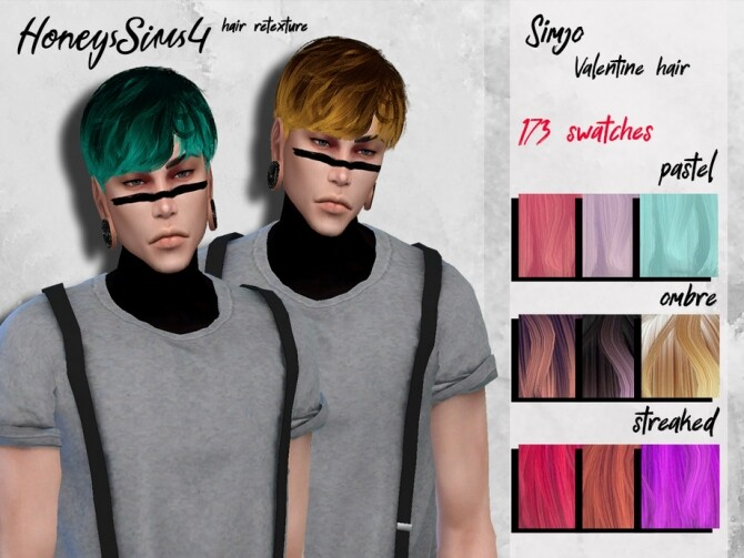 Sims 4 Simjo male hair retexture by HoneysSims4 at TSR