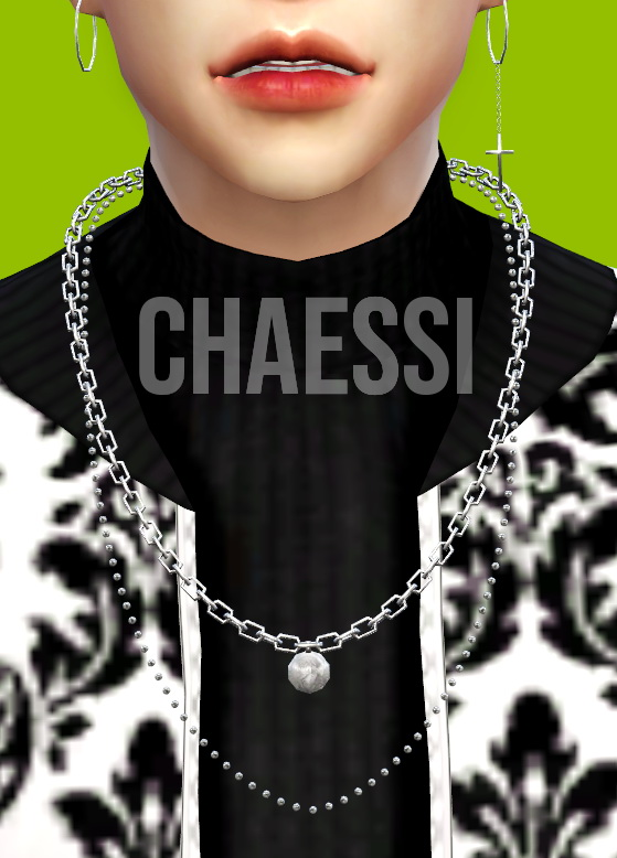 Male Necklace 7 & 8 + Earrings 2 at Chaessi image 1256 Sims 4 Updates